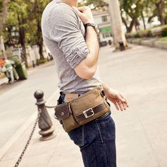 Amazon.com: BAOSHA YB-01 Vintage Men's Waist Bag Sports Waist Pack Bum Bag Security Money Waist Day Pack Pouch Hip Belt Bag Bumbag Black: Clothing