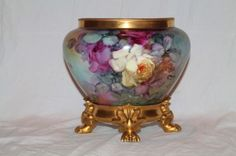 Wonderful  Hand Painted Jardiniere and Limoges Base~ Breathtaking HAND PAINTED ROSES ~ Full Stunning Still Life Paintings on Porcelain On BOTH SIDES of the Jardiniere~ Magnificent Piece of Fine Art ~ Collector's DREAM!!!