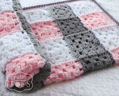 Pink And Gray Crochet Baby Blanket Baby Blanket Pink Gray
