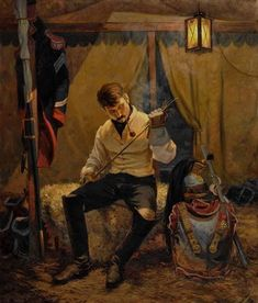 A quiet portrait of a Napoleonic cuirassier. I love how warm and relaxed this painting is, as if he is just settling down for the night, the day after the battle, or perhaps it...