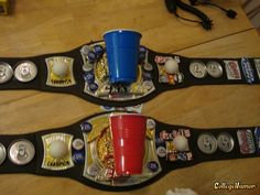 beer pong champ belts :) perfect for our Halloween beer champs this year