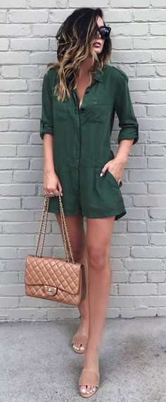 trendy outfit idea: olive green dress