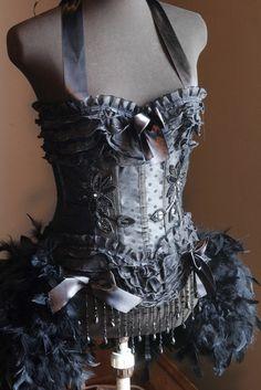 KALI vestido Black Swan Burlesque Steampunk vestido por olgaitaly