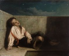 Sleeping rough: This painting, titled 'A Recess on a London Bridge', by Augustus Edwin Mul...