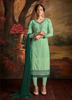 Lovable Embroidered Work Green Georgette Churidar Designer Suit