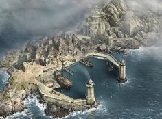 small harbor town of a dwarf clan and the mountain in the background is their clan castle? Fantasy Town, Fantasy Castle, Fantasy Map, Medieval Fantasy, Sci Fi Fantasy, Fantasy World, Fantasy Concept Art, Fantasy Artwork, Harbor Town