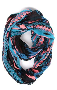 Woven Infinity Scarf with Multicolor Aztec Print