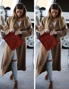Kim Kardashian street style with camel coat. #kimkardashian