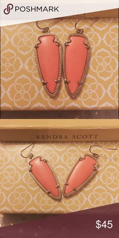 Kendra Scott Skylar earrings in peach/orange color Perfect for spring or for game days! Kendra Scott Jewelry Earrings