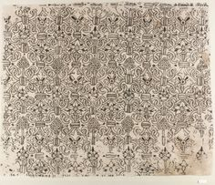 """1580–1620 Linen worked with silk thread; buttonhole, cross, outline, and herringbone stitches """"Blackwork"""" or monochrome silk embroidery on white linen was a fashionable embellishment for dress in the sixteenth and seventeenth centuries. The repeating pattern on this panel displays flora typical of embroideries of the period: honeysuckle, pansies, borage, and grapes."""