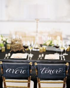 "See the ""Decorate Newlywed Chairs"" in our 50 Great Ideas From Real Weddings gallery- These newlyweds marked their spots at the head table with the Italian words for ""to have"" and ""to hold,"" a nod to their roots. Wedding Events, Our Wedding, Decor Wedding, Wedding Receptions, Wedding Bride, Fall Wedding, Rustic Wedding, Italian Words, Do It Yourself Wedding"