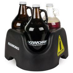 KegWorks Growler On Board Beer Growler Carrier - Black - Holds 3 Growlers