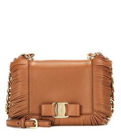 SALVATORE FERRAGAMO Ginny Small Leather Shoulder Bag. #salvatoreferragamo #bags #shoulder bags #leather #silk #lining