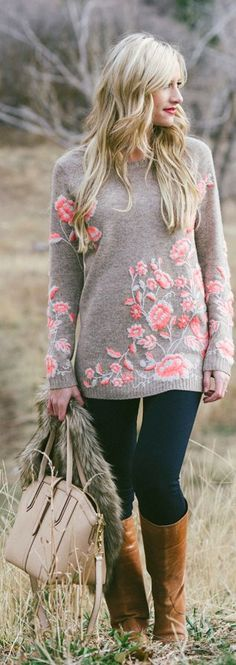 .Floral sweater