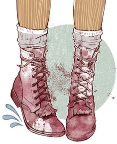 "Illustration by Miss Led, featured in SHARE from New Heroes & Pioneers, a book you will want to get rid of. ""I really wanted these boots, like really needed them. I searched everywhere every winter, rifling through markets and vintage stores, finally finding them but not in my size. Damn. So I drew them instead. Immortalised in my sketchbook I wanted to give the boots a little personality of their own."" www.missled.co.uk"