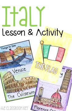 Italy Lesson and Activity Teaching Social Studies, Teaching Math, Elementary Teaching, Italy Geography, How To Speak Italian, Italy For Kids, Montessori, Italian Lessons, Italian Vocabulary