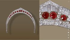 a gorgeous close up of the Chaumet art deco ruby tiara made for the Duchess of Calabria