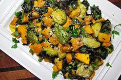Parmesan Roasted Brussels, Buttetternut Squash & Kale