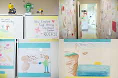 The hallway walls at the New England center are covered with drawings by patients, many of which include declarations of love for peanuts and peanut M&Ms.