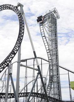 World's Steepest Steel Rollercoaster - Takabisha Roller Coaster at Japan's Fugi-Q Highland Amusement Park
