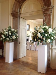 Wedding Flowers in Admirals House, Greenwich by www. - Wedding Flowers in Admirals House, Greenwich by www. Church Wedding Flowers, Church Wedding Decorations, Wedding Altars, Altar Decorations, Decoration Table, Wedding Centerpieces, Flower Centerpieces, Wedding Flower Arrangements, Floral Arrangements