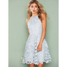 Nly One Scallop Lace Dress (€62) ❤ liked on Polyvore featuring dresses, light blue, party dresses, womens-fashion, scalloped dresses, lace cocktail dress, green crochet dress, light blue cocktail dress and crochet lace dress
