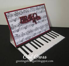 Easel card - hand pieced keyboard, Cricut Quarter Note cartridge used for greeting Greetings from Gail