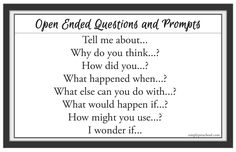Free printable PDF of open ended questions. These questions will help improve our interactions in the preschool classroom. Post as a reminder for teachers, assistants, and visitors in your classroom! Kindergarten Inquiry, Inquiry Based Learning, Preschool Classroom, Literacy, Preschool Lesson Plans, Preschool Activities, Reggio, Classroom Organization, Classroom Management