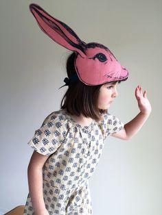 Animalesque Pink Rabbit Headdress Costume // http://ss1.us/a/SQnpORgr #halloween #kids