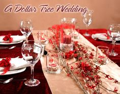 Burgundy and Gold or even Red and Gold for Fall or a Winter wedding. The things you can do with an idea and a small budget. Who knew you could get this look from the Dollar Tree?!