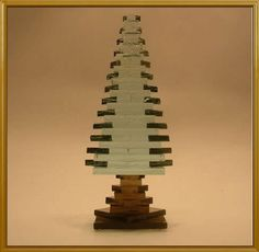 Glass Pine Tree New Stacked Glass Modern Pine Tree Handcrafted Evergreen 116M