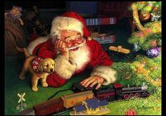 Santa watching train