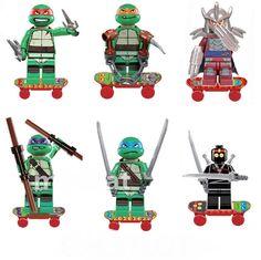 TEENAGE Mutant NINJA TURTLES 6 Minifigures Skateboards Building Toy Play set New #UnbrandedGeneric