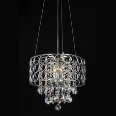 Shop Warehouse of Tiffany 17-in W Chrome Crystal Accent Pendant Light with Metal Shade at Lowes.com