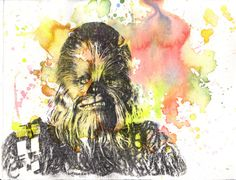 Chewbacca Chewie Star Wars Art Print From Original by idillard