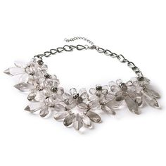 TQS?Grey Lucite Crystal Flower Statement Necklace Collar Bib -- More info could be found at the image url.