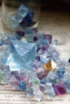 The many natural shades of fluorite in one of its many natural crystal forms.