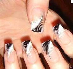 Black & white Feather nails