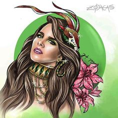 ZODIACA DE CAPRICÓRNIO - Ilustra inspirada na beleza brasileira de Wanessa. #zodiacas #higgocabral #capricorniana #capricornio