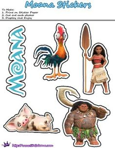 Moana Printable Stickers by SKGaleana | Free Moana Printable Crafts, Activities and Party Supplies