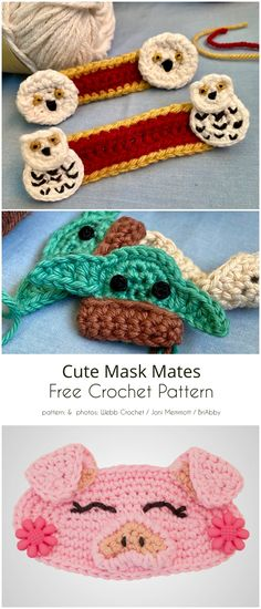 Variety of Mask Helper Free Crochet Patterns- Variety of Mask Helper Free Crochet Patterns Cute Mask Mates - Crochet Pattern Free, Crochet Motifs, Crochet Blanket Patterns, Crochet Stitches, Knitting Patterns, Crochet Accessories Free Pattern, Crochet Mask, Crochet Faces, Crochet Amigurumi