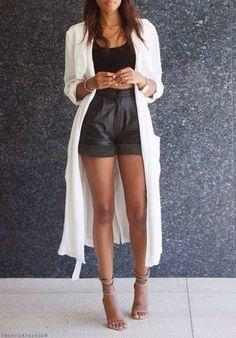 pants shorts long cardigan highwaisted shorts blouse jacket white jacket leather shorts high waisted shorts long jacket black and white look cardigan