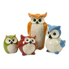 Dot & Bo Owl Family Set - 4 Pieces ($73) ❤ liked on Polyvore featuring home, home decor, white owl home decor, owl home decor and white home decor
