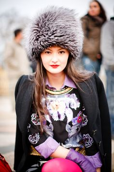 Warm hat cool patterns- from London Fashion Week blog- street style