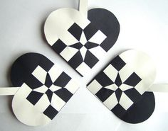 SET OF 3 Star Woven Heart Decoration or Christmas Ornament Nordic Scandinavian Traditional Paper Julehjerter