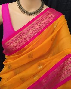 Mango yellow Kora cotton saree with contrast pink zari border. Comes with contrast pink blouse piece. Cotton Saree Designs, Silk Saree Blouse Designs, Saree Blouse Patterns, Cotton Saree Blouse, Silk Cotton Sarees, Saree Jewellery, Indian Bridal Outfits, Sari Dress, Simple Sarees