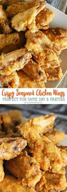 Crispy Seasoned Chicken Wings are easy to make & a great game day snack. Baked t… Crispy Seasoned Chicken Wings are easy to make & a great game day snack. Baked to perfection & flash fried for that perfectly crispy skin via Kleinworth & Co. Cooking Chicken Wings, Crispy Chicken Wings, Chicken Wing Recipes, Crispy Oven Wings, Chicken Breasts, Chicken Thighs, Marinade For Chicken Wings, Teriyaki Chicken Wings, Sticky Chicken