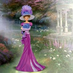 Thomas Kinkade Figurines Collection   THOMAS KINKADE ALZHEIMER'S CARE & SUPPORT *Promise in Purple* FIGURINE ...