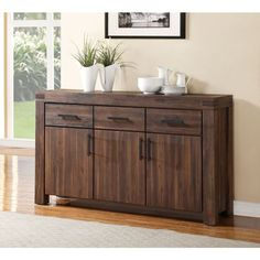 Wire Brushed Three Drawer Three Door Solid Wood Sideboard in Brick Brown   Overstock.com Shopping - The Best Deals on Buffets