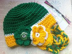 Football Team greenbay packers Crochet Earflap for newborn photography prop. $27.00, via Etsy.